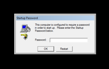 Startup Password This computer is configured to require a password in order to start up. Please enter the Startip Password below. Password: OK button Restart button